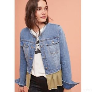 Pilcro & Letterpress Flounced Ruffle Denim Jacket